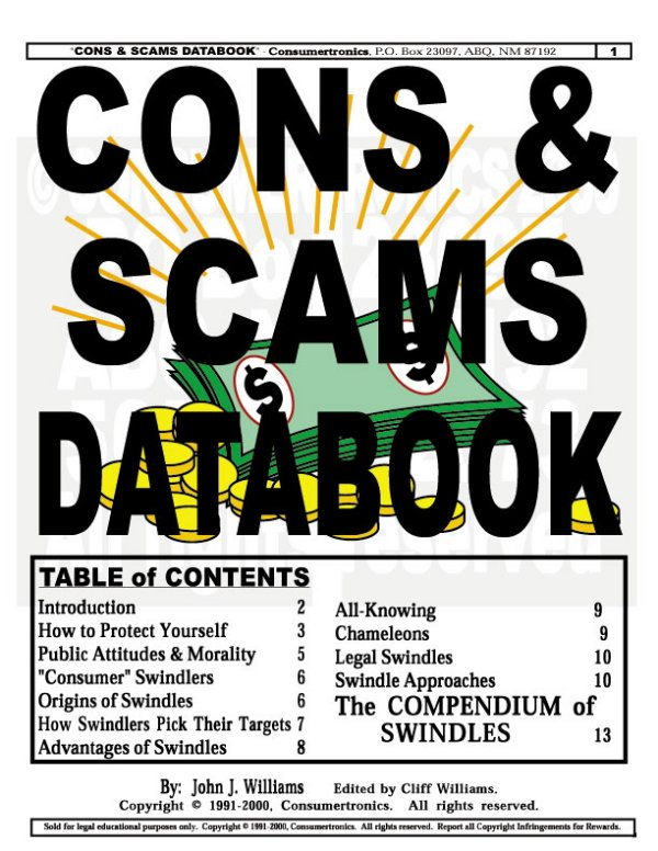 Abq techzonics booksmanualsebookssoftware sales cons scams databook 100s cons scams frauds swindles rip offs fandeluxe Image collections