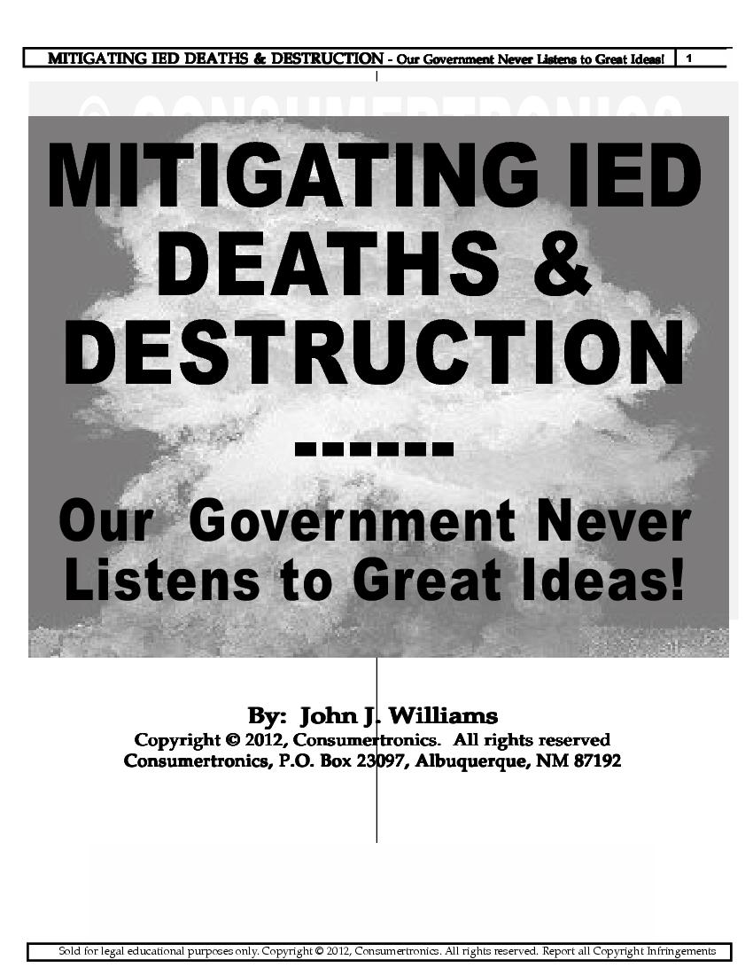 Abq Techzonics Booksmanualsebookssoftware Sales 2000 F150 7 Way Plug Wiring Diagram Mitigating Ied Deaths Destruction Our Government Never Listens To Great Ideas